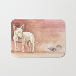 BULL TERRIER and RAT Watercolor painting illustration Cute animal scene Dog portrait Bath Mat