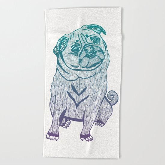 Duotone Pug Beach Towel