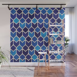 Retro blue abstract geometric art watercolor paint on paper texture illustration pattern Wall Mural