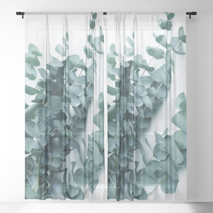 Teal Eucalyptus Sheer Curtain
