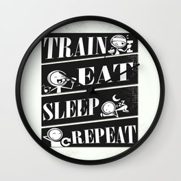 Train eat sleep repeat Inspirational Fitness Quote Design Wall Clock