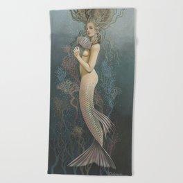 """""""Mermaid with Fan No. 4"""" by David Delamare Beach Towel"""