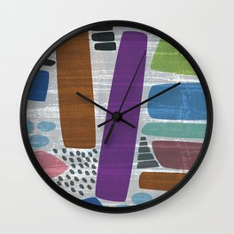 Abstract print, mid century style vintage looking pattern Wall Clock