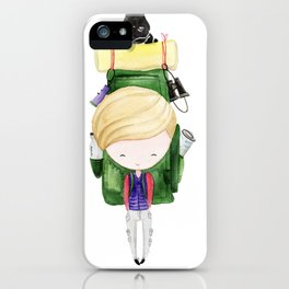 Traveling boy with cat iPhone Case