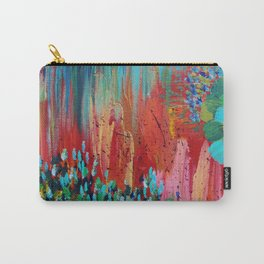REVISIONED RETRO - Bright Bold Red Abstract Acrylic Colorful Painting 70s Vintage Style Hip 2012 Carry-All Pouch