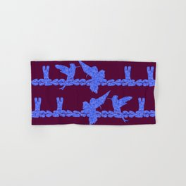 Purple Hummingbirds on Ultraviolet Line Hand & Bath Towel