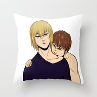 snk Throw Pillows featuring BOY IS A MONSTER by jean-huh-kirschnickerdoodle