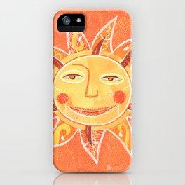 Orange Smiling Sun Face iPhone Case