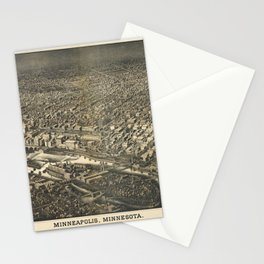 Aerial View of Minneapolis, Minnesota (1885) Stationery Cards