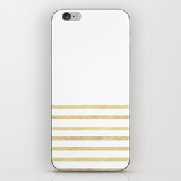 White and Gold Stripes iPhone Skin