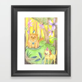 Magical Forest and the King Cat Framed Art Print