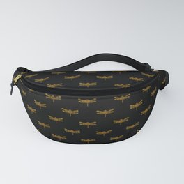 Golden Dragonfly Repeat Gold Metallic Foil on Black Fanny Pack
