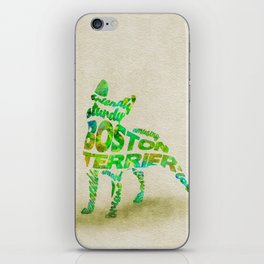 Boston Terrier Typography Art / Watercolor Painting iPhone Skin