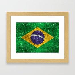 Vintage Aged and Scratched Brazilian Flag Framed Art Print