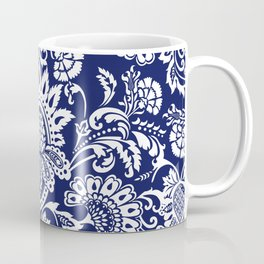 damask in white and blue Coffee Mug