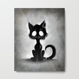 Creepy Cat Metal Print