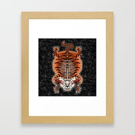 TIBETAN TIGER - SKELETON (black) Framed Art Print