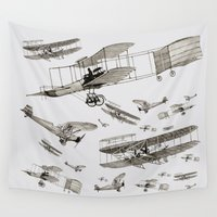 airplanes Wall Tapestries featuring airplanes1 by Кaterina Кalinich