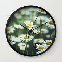 daisies Wall Clocks featuring daisies by Bonnie Jakobsen-Martin