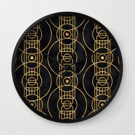 Breathtaking 24-Karat Gold Art Deco Geometric Pattern Wall Clock