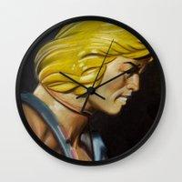 he man Wall Clocks featuring HE-MAN by John McGlynn