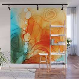 ORANGE AND BLUE ABSTRACT INKSCAPE Wall Mural