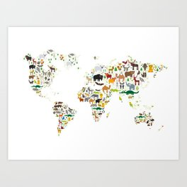 Cartoon animal world map for children and kids, Animals from all over the world on white background Art Print