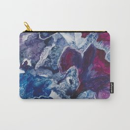 Blue and Red Abstract encaustic flowers Carry-All Pouch