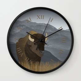 Bison Gray Mountains Wall Clock