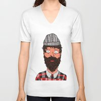 larry stylinson V-neck T-shirts featuring Larry Lumberjack by ALFIE creative design