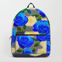 CHARCOAL GREY DECORATIVE WHITE & BLUE ROSE GARDEN Backpack