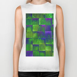 Wood green blue pattern Biker Tank