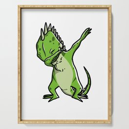 Funny Dabbing Iguana Reptile Dab Dance Serving Tray