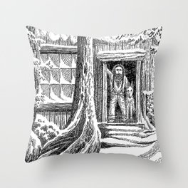 SNOWED IN MOUNTAIN MAN AND WOLF VINTAGE PEN DRAWING Throw Pillow