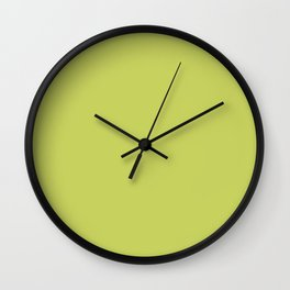 Tropical Dark Lime Green Yellow Solid Color Accent  Wall Clock