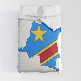 Democratic Republic of the Congo Map with Congolese Flag Comforters