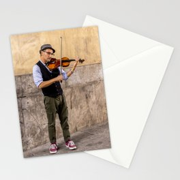 Violin player in the streets of Palermo, Sicily Stationery Cards
