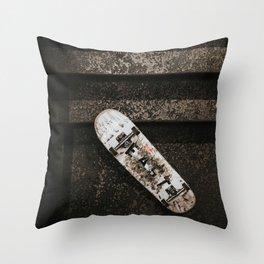 Grungy Skateboard (Color) Throw Pillow