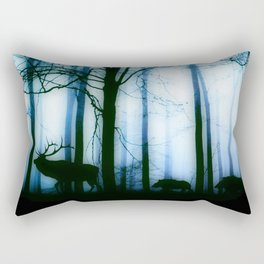 Deer in the blue forest Rectangular Pillow