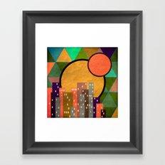 Geometric town at sunset Framed Art Print