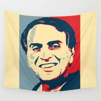 carl sagan Wall Tapestries featuring Carl Sagan 'Hope' by cvrcak