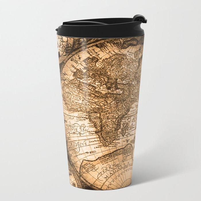 World Map Antique Vintage Maps Metal Travel Mug