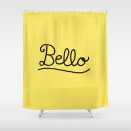 Funny Bello Hello Typography in Yellow and Black Shower Curtain