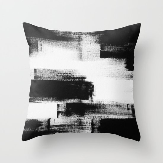 Modern Abstract Pillow : No. 85 Modern abstract black and white painting Throw Pillow by Adriane Duckworth Society6