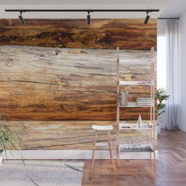 Wooden Log Wall Of A Vintage Cabin Wall Mural