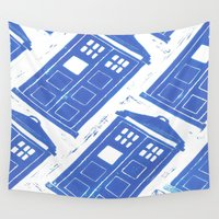 tardis Wall Tapestries featuring tardis by Kim Codner Designs