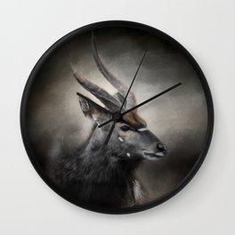 Waiting For The Storm - Nyala Buck - Wildlife Wall Clock