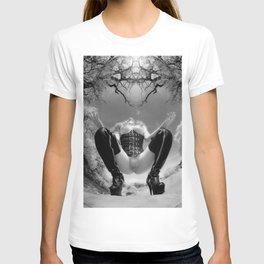 7034-TT Desert Domination BW IR Art Nude In Black Leather Corset Thigh High Boots T-shirt
