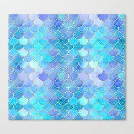 Aqua Pearlescent & Gold Mermaid Scale Pattern Canvas Print