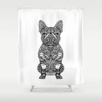 frenchie Shower Curtains featuring Mandala Frenchie by Huebucket